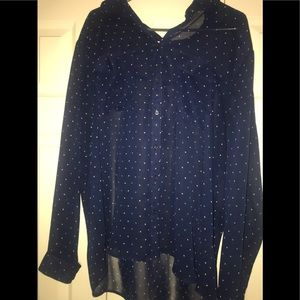 Sheer Long Sleeve Polka Dot Blouse